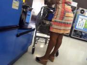 Ebony milf in line