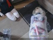 live latex Female mask mummy