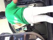Vpl white jeans milf 3