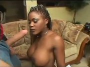 Busty ebony babe taking white cocks in DP