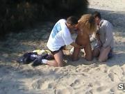 MILF is flashing and dogging on beach then in forest