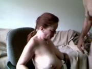 Chubby slut masturbates on chair
