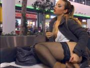 Webcam babe free show at public place.
