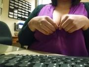 Pulling breasts out at work at desk my gf