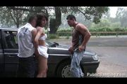 Public - public sex threesome on a car