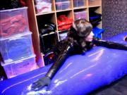 rubber Girl makes het rubber slave shine