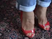 Fantastic sexy feet and red open toe high heels pumps