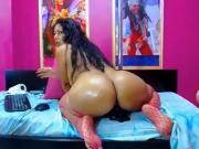 Webcam - Latina MILF with nice big ass riding dildo