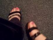 Wearing flatform sandals with pink toes