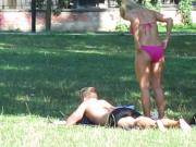 Sexy blonde teen sunbathing and dressing