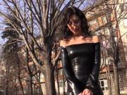 Sexy girl in black Latex Catsuit