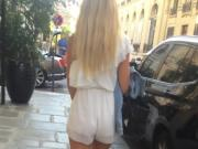 French ass - short transparent dress