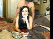 smoking sexe brune wife
