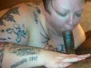 Sexy tattooed White BBW gags, chokes, and Slobbers on BBC.