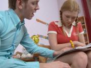 Tutor Fucks Little Blonde Teen in the Ass