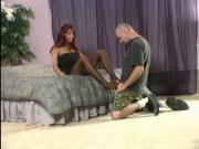 Sexy girl gives footjob cum on feet