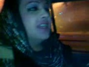 hijab girl blows in the car