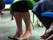 Candid Under Chair Dipping Shoeplay Feet Blue Toes 1