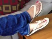 Ebony Feet Flip-flops and jeans