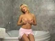 teen blonde in bathroom