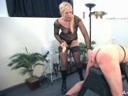 Femdom Mistresses dominate male slave in all ways