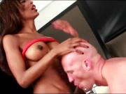 Nice ebony t-girl with white man