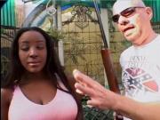 Big Boobed Ebony Honey Caramel Gets A Rough Interracial DP