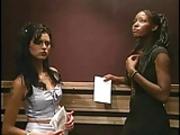 Interracial lesbian sex in elevator
