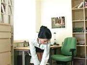 Secretary strips and masturbat