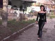 Sweet girl in Black Latex catsuit