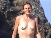 wife topless on beach with small empty saggy tits