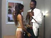 Ebony doctor gives hot chick in lingerie a full physical