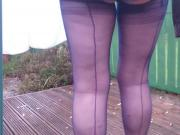 Blue fully fashioned nylons in my garden Part 2