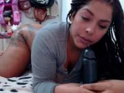 Webcams 2014 - Gorgeous Latina w BIG ASS blows dildo