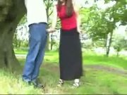 Handjob tied to a tree - CFNM