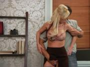 BIG TIT BLONDE BOSS WITH HANDY MAN!!