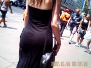 slim white chick walking