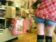 Peeping denim short pants