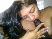 Cute indian gal sucking a bbc