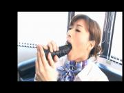 Japanese stewardess plays with herself