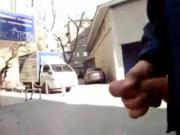 Russian man masturbating in front of girls!