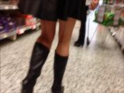 pvc mini skirt boots and seamed stockings