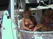 Flashing Lesbians: 2 MILFs on Boat