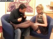 Lusty in stockings enjoys cock-riding.