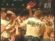 Drunk rock slut Courtney Love topless on stage - snake