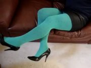 Blue Nylon and Black High Heels Shoes and Ready for LOVE
