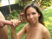 Woman jerks man outside