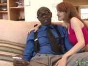 Redhead stepdaughter cockriding black stepdad