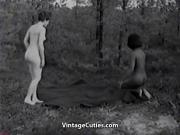 Naked Nudist Girls Messing Around 1960s Vintage