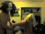 freaky SAW guy shags blonde slave grrrl doggy
